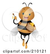 Royalty Free RF Clipart Illustration Of A Cute Bee Holding Up A Honey Wand