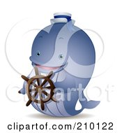 Royalty Free RF Clipart Illustration Of A Cute Whale Captain Steering A Ship by BNP Design Studio