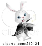 Royalty Free RF Clipart Illustration Of A Cute White Magician Bunny Rabbit Performing A Magic Trick