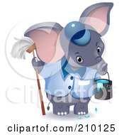 Cute Janitor Elephant With A Mop And Bucket