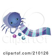 Royalty Free RF Clipart Illustration Of A Cute Spider Knitting A Scarf
