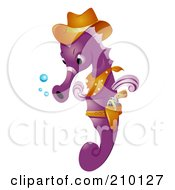 Royalty Free RF Clipart Illustration Of A Cute Purple Seahorse Cowboy by BNP Design Studio