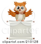 Royalty Free RF Clipart Illustration Of A Cute Owl Flying With A Blank Scroll Sign