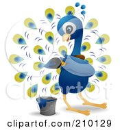 Royalty Free RF Clipart Illustration Of A Cute Peacock Painting His Feathers by BNP Design Studio