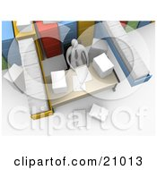 Clipart Illustration Of A Busy Employee Seated At A Messy Desk Surrounded By Filing Cabinets And Paperwork