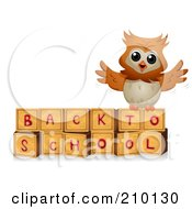 Royalty Free RF Clipart Illustration Of A Cute Owl On Back To School Blocks