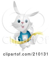Royalty Free RF Clipart Illustration Of A Cute White Bunny Rabbit Finishing A Race