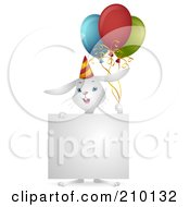 Royalty Free RF Clipart Illustration Of A Cute White Birthday Bunny Rabbit With Balloons And A Sign