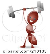 Royalty Free RF Clipart Illustration Of A Happy Strong Ant Holding Up A Barbell by BNP Design Studio