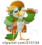 Royalty Free RF Clipart Illustration Of A Cute Pirate Parrot Viewing Through A Scope by BNP Design Studio