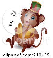 Royalty Free RF Clipart Illustration Of A Cute Circus Monkey Banging Cymbals by BNP Design Studio