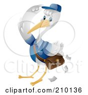 Cute Stork Saluting While Delivering Mail