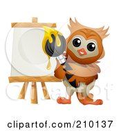Royalty Free RF Clipart Illustration Of A Cute Owl Artist Painting On An Easel