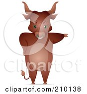 Royalty Free RF Clipart Illustration Of A Bull Standing Upright And Pointing With One Arm by BNP Design Studio