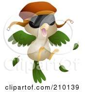 Royalty Free RF Clipart Illustration Of A Bird Pilot Wearing A Hat And Shades by BNP Design Studio