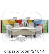 Clipart Illustration Of A Businessman Working At A Desk Surrounded By Papers And Unorganized File Cabinets