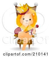 Royalty Free RF Clipart Illustration Of A Cute King Lion Sitting On A Throne by BNP Design Studio