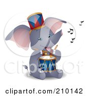 Cute Circus Elephant Playing A Drum