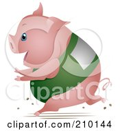 Royalty Free RF Clipart Illustration Of A Chubby Pig Running In A Race