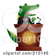 Royalty Free RF Clipart Illustration Of A Cute Politician Crocodile Giving A Speech by BNP Design Studio