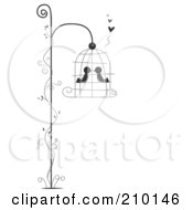 Royalty Free RF Clipart Illustration Of Two Birds Smooching In A Hanging Bird Cage With A Vine