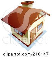 Royalty Free RF Clipart Illustration Of A View Down On A Beige And Brown Home