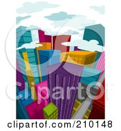 Royalty Free RF Clipart Illustration Of Clouds Above A Colorful City During The Day