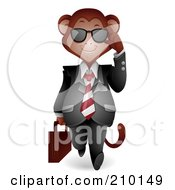 Royalty Free RF Clipart Illustration Of A Cute Monkey Businessman Walking Forward And Adjusting His Shades