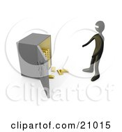 Clipart Illustration Of A Bank Robber Standing Before An Open Safe Gold Bars Spilling Out by 3poD