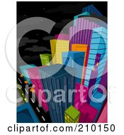 Royalty Free RF Clipart Illustration Of A Starry Sky Above A Colorful City At Night