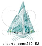 Royalty Free RF Clipart Illustration Of A Low Perspective Of A Tall Glass City Building
