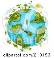 Royalty Free RF Clipart Illustration Of Clouds Hovering Around A Globe With Trees On Islands by BNP Design Studio