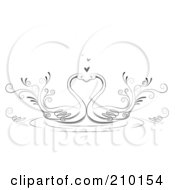Royalty Free RF Clipart Illustration Of A Pair Of Romantic Swans Smooching by BNP Design Studio