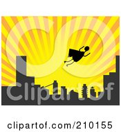 Royalty Free RF Clipart Illustration Of A Silhouetted Stick Super Hero Flying Above A City At Sunset