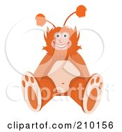 Royalty Free RF Clipart Illustration Of A Happy Orange Monster Sitting
