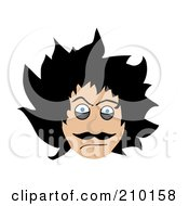 Royalty Free RF Clipart Illustration Of A Crazy Faced Man With Messy Black Hair by mheld
