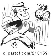 Royalty Free RF Clipart Illustration Of A Retro Black And White Businessman Passing A Rooster On A Fence