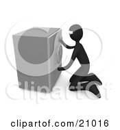 Clipart Illustration Of A Bank Robber Kneeling In Front Of A Safe Trying To Break In by 3poD