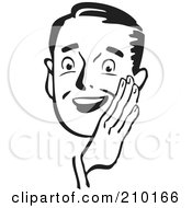 Royalty Free RF Clipart Illustration Of A Retro Black And White Man Holding His Hand Around His Mouth