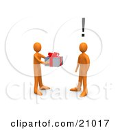 Giving Orange Person Handing A Present To A Surprised Person