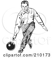 Royalty Free RF Clipart Illustration Of A Retro Black And White Man Bowling by BestVector