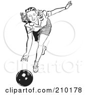 Royalty Free RF Clipart Illustration Of A Retro Black And White Woman Bowling by BestVector