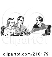 Royalty Free RF Clipart Illustration Of A Retro Black And White Businessman Discussing Plans With A Couple by BestVector