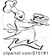 Royalty Free RF Clipart Illustration Of A Retro Black And White Chef Carrying A Cake by BestVector