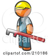 Orange Man Design Mascot With A Red Pipe Wrench