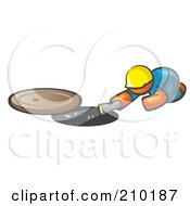 Royalty Free RF Clipart Illustration Of An Orange Man Design Mascot Sewer Worker Shining A Flashlight Down A Man Hole by Leo Blanchette
