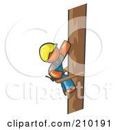 Orange Man Design Masccot Worker Climbing A Phone Pole