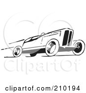 Royalty Free RF Clipart Illustration Of A Retro Black And White Race Car Speeding To The Right by BestVector