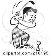 Retro Black And White Man On A Golf Course