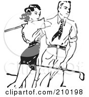 Retro Black And White Man Teaching A Woman To Golf